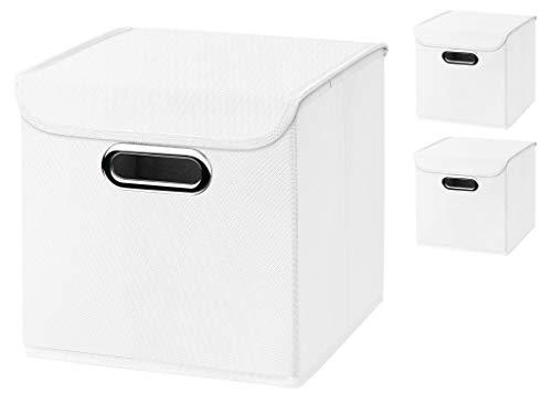 Stick&Shine 3er Set weiß Faltbox 25 x 25 x 25 cm Aufbewahrungsbox faltbar, mit Deckel