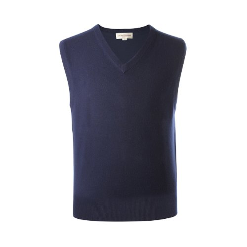 Lona Scott–Jersey de cachemira Pure–Chaleco de sin mangas para hombre, Plain Azul azul marino XXX-Large