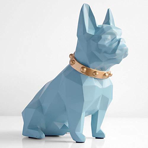 SKHF Estatuas Estatua Estatuilla De Perro De Resina Decoraciones para El Hogar-Azul