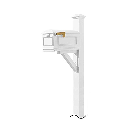 Qualarc WPD-NB-S7-LMC-WHT Westhaven Cast Aluminum Post Mount System with Lewiston Mailbox (No Base) Pyramid Finial, Ships in 2 Boxes, White