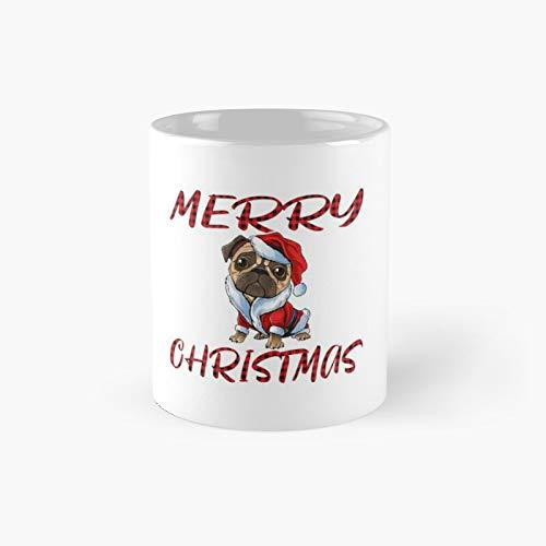 Merry Pugmas Christmas Pug Dog in Santa Claus Costumemerry Carlin Regalo para Woh Loves Dog Taza clásica | El mejor regalo divertidas tazas de café de 11 oz