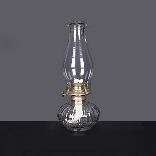 HGNFD Glas Petroleumlampe Vintage Retro Petroleumlampe Glas Öllampe Hochzeitsfest (33CM)