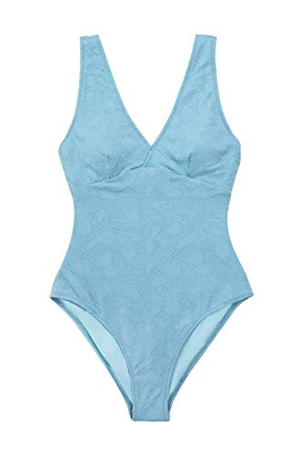 CUPSHE Bañador para Mujer Azul Floral Cuello en V Tirantes Anchos Traje de Baño, S
