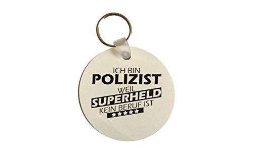 Schlüsselanhänger rund, Ich bin Polizist weil Superheld kein Beruf ist