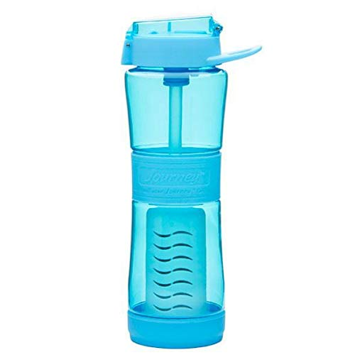 Journey Water Purifier Bottle - Best Filtered Water Bottle for Travel, Hiking, Camping, Everyday, Survival Water Filter Bottle, Removes Bacteria, Virus, Parasites, Lead 250 gal, 24 oz Sky Blue