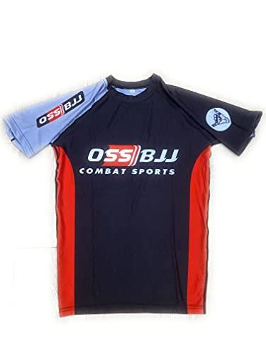 OSS Sports BJJ Jiu Jitsu Rash Guards, Uomini BJJ, No GI, MMA Manica Corta Compressione Base Layer Rash Guard
