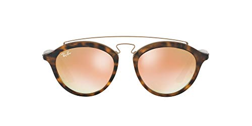 Ray-Ban Women's RB4257 Gatsby II Round Sunglasses, Matte Havana/Mirror Gradient Copper, 50 mm
