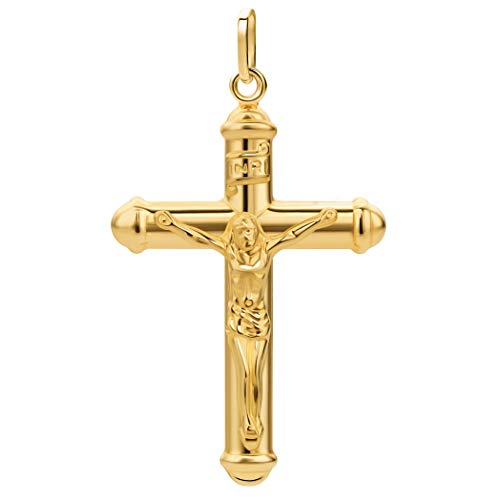 PRINS JEWELS Kreuz Anhänger Mit Jesus 14 Karat 585 Gelbgold Unisex (32)