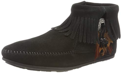 Minnetonka Damen Concho Feather Boot Mokassin Stiefel, Schwarz (Black 0), 40 EU