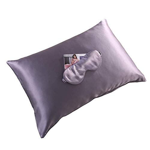 THXSILK 22 Momme Mulberry Silk Pillowcase, Facial Beauty, Zipper Pillow Case with 100% Silk Sleep Eye Mask, Blindfold, Great for Travel, Long Flight - Standard(20'x 26'), Pretty Purple