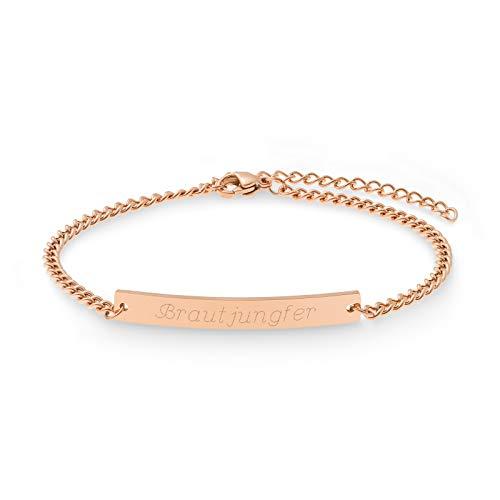 JUNO Armkettchen Armband mit Gravur | ID Armband | Personalisierte Geschenke | Individuelle Wunschgravur | Personalisierter Schmuck | Trauzeugin Armband