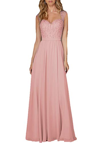 Damen Abendkleid Lang Hochzeitskleid Chiffon A-Linie Ballkleid Brautjungfernkleider Ärmellos Festkleid Altrosa 58
