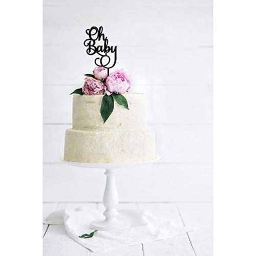 Oh Baby' Baby Shower Cake Topper - Style 1 - Baby Cake Toppers - Wooden Cake Toppers