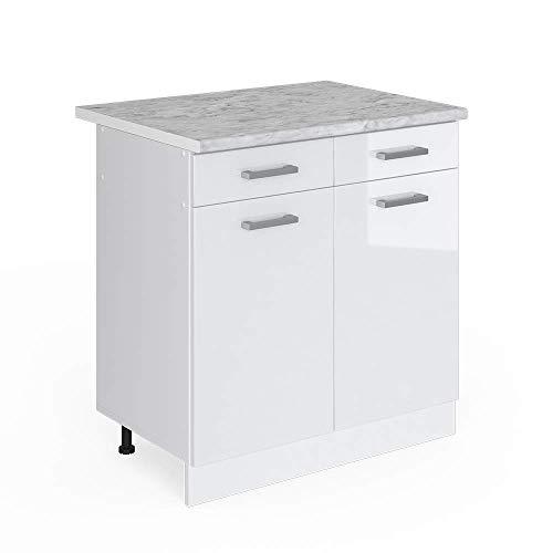 Vicco Küchenschrank R-Line Küchenzeile Hängeschrank Unterschrank Küchenschränke Küchenunterschrank Arbeitsplatte (weiß mit Arbeitsplatte, Schubunterschrank 80 cm)