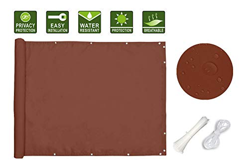 Ommda Privacidad de Balcón y Pantallas 95% Protector Solar Impermeables HDPE Pantalla de Balcón Jardín Resistente al Viento Rayos UV con Cuerda de Nylon y Bridas,185 g/m²,Rojo óxido,0.9x10m