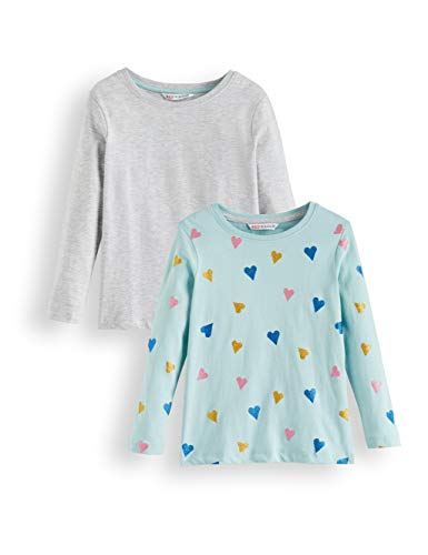 Amazon-Marke: RED WAGON Mädchen Langarmshirt Glitter Heart 2er pack, Mehrfarbig (Blue And Grey), 128, Label:8 Years