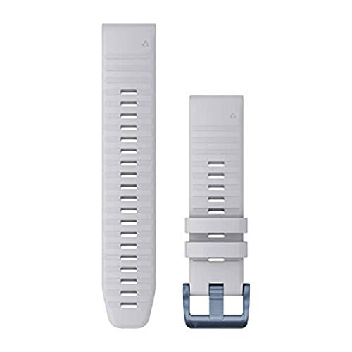 Garmin Quickfit 22 Watch Band, Whitestone Silicone with Mineral Blue Hardware, 010-12863-23