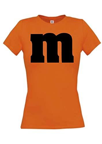 Shirtstown - Camiseta para mujer, para carnaval, grupo M, JGA, pareja, disfraz, tema, fiesta, camiseta, diseño, logotipo, frase naranja L