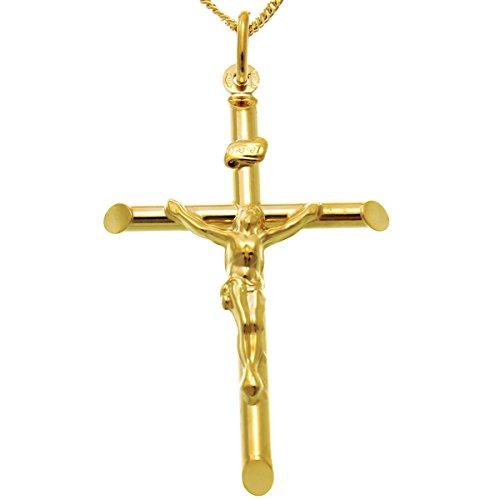 Halsketting met grote 9-karaats gouden kruishanger, 45,7 cm ketting en geschenkdoos.