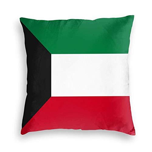 SUN DANCE Funda de cojín decorativa suave con la bandera de Kuwait, funda de almohada cuadrada para sofá, coche, cama, 50,8 x 50,8 cm