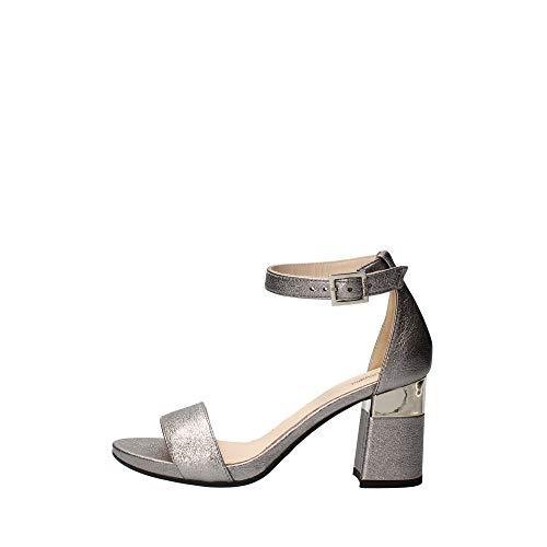 Nero Giardini E012860DE Rock Sand Acciaio Sandali Eleganti per Donna Pelle Satinata Tacco Medio (Taglia 40)