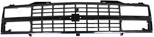Grille Assembly Compatible with 1988-1993 Chevrolet K1500 Black Shell and Insert with Quad or Composite Headlights