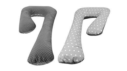 Velinda Schwangerschaftskissen Ruhekissen Kuschelkissen Seitenschläferkissen 7-Kissen (Muster: weiße Sternchen auf Grau - grau)