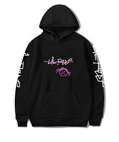 Unisexe Sweat à Capuche Lil Peep Rapper Hip Pop Pulls Cool Street Fashion Harajuku Col Rond Casual Sweatshirt Hoodie pour Homme Femme Adolescent Noir X-Large