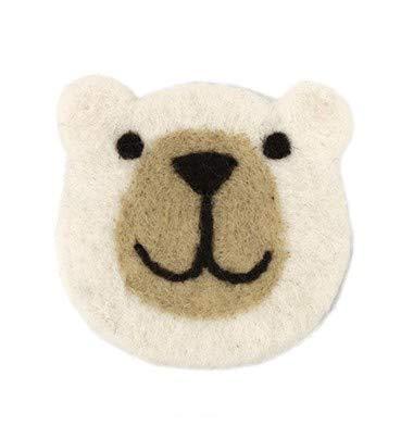 『クマフェイス コースター』:シロクマ ※一つ一つ表情が異なります。お任せの発送となります。【キッチン 逃げ恥 ガッキー 北欧 ティーマット キッチン インテリア フェルトコースター ウール 羊毛 手作り 厚手 クマコースター ラウンド フェルトボール ス