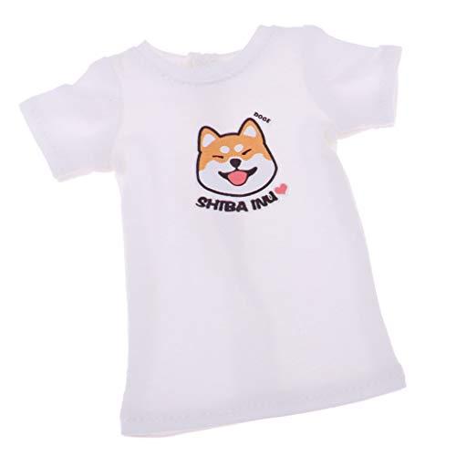 Stilvolle 1/6 Puppe Lange Lose T Shirt Für 12 Zoll Blythe Puppe Kleidung Zubehör - Weiß