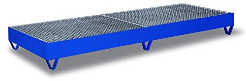 Auffangwanne mit Gitterrost für 4 Fässer a 200 l Traglast (kg): 1000 Ladefläche: 2380 x 790 mm RAL 5010 Enzianblau