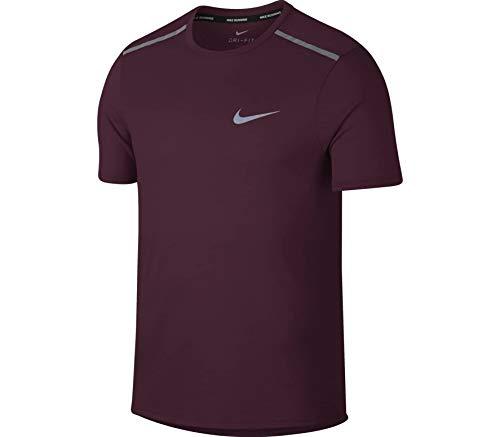 Nike Dri Fit Rise 365, Camiseta para Hombre, Borgoña (Vintage Wine/Metallic Silver),...