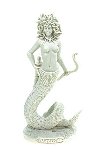 Kremers Schatzkiste Alabaster Figur Medusa mit Pfeil und Bogen 20 cm Skulptur weiß Gottheit Athene