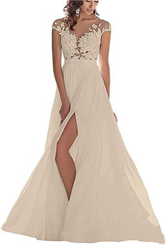 HUINI Lang Brautkleider Hochzeitskleid Elegant Spitzen Brautmode Abendkleid Damen Standesamtkleider mit Schlitz Champagne 38