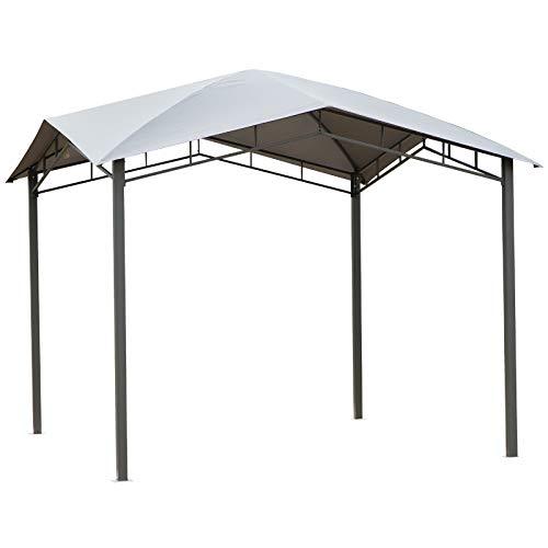 Outsunny Gartenpavillon Pavillon Überdachung Vordach Sonnenschutz Partyzelt Laube Metall + Polyester Grau 3 x 3 m