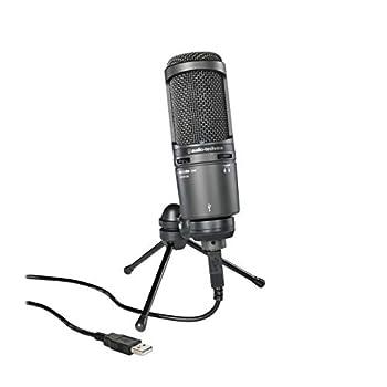 Audio-Technica AT2020USB Plus Cardioid Condenser USB Microphone Black  Renewed