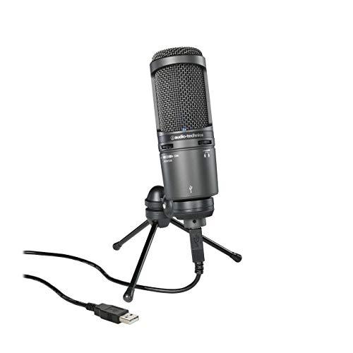 Audio-Technica AT2020USB Plus Cardioid Condenser USB Microphone, Black (Renewed)