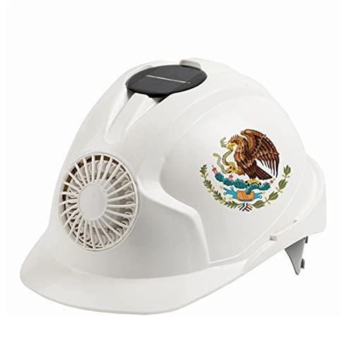 KLMM México Casco de Seguridad al Aire Libre con Ventilador de refrigeración Solar Ajustable Seguridad Construcción Sunscreen Ciclismo Casquillo de protección (Color : White)