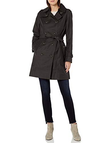 LONDON FOG Women's Double Breasted Trench Coat with Removable Hood, Black, Medium
