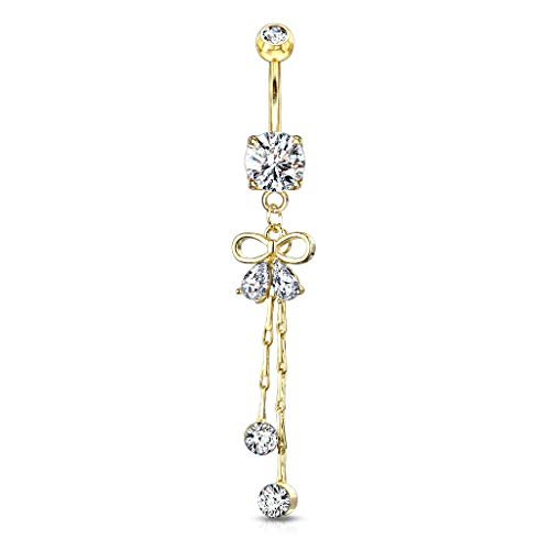 Pierced Owl Crystal Bow Ribbon Dangling Chain Belly Button Navel Ring (Gold...