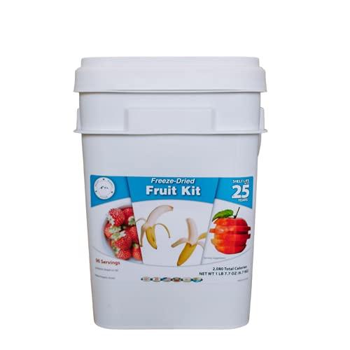Ready Supply Foods- Freeze Dried Fruit Bulk Emergency Food Storage Variety Fruits Bucket   Strawberries, Bananas & Apples   Emergency Preparedness Food   Disaster Bucket (96 Servings)