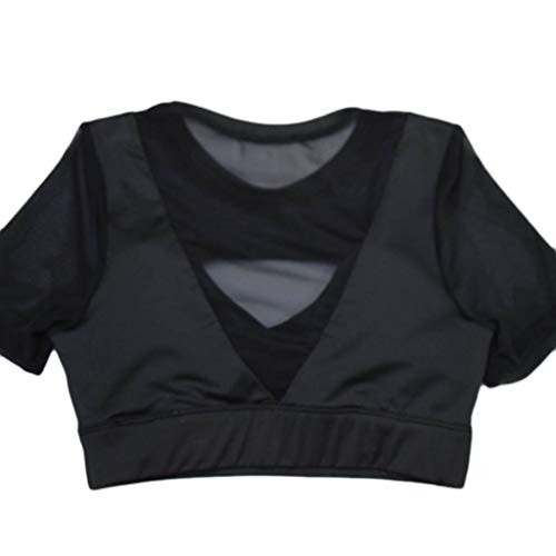Fasclot Blouses for Women Casual Summer Sports Bra Cross Ring-Free Sports Underwear Yoga Fitness Shock-Proof Top Womens Blouses Short Sleeve Onsale Black L