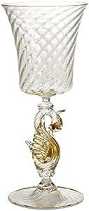 YourMurano - Copa de Cristal de Murano, diseño de Cisne, Transparente y Dorado, Hecha a Mano, Marca de Origen Garantizada, Masaccio