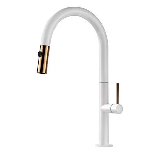 Wasserhahn Küche Ausziehbar 360° Drehbar Küchenarmatur mit Brause Herausziehbar 2 Strahlarten Spültischarmatur Weiß PHASAT KW01E