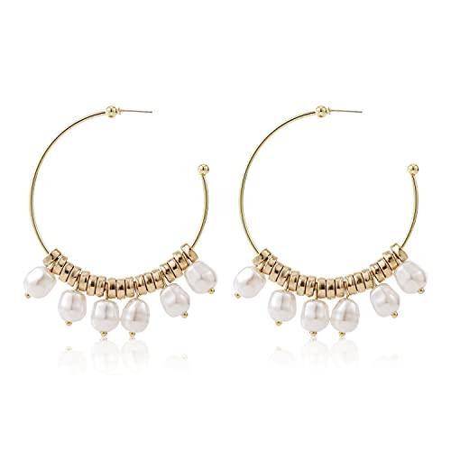 Pendientes grandes en forma de C de perlas colgantes de aro con acabado pulido dorado y blanco 6 cm