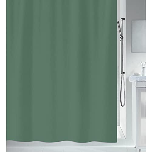"Spirella Anti-Schimmel Duschvorhang - Anti-Bakteriell, waschbar, wasserdicht - Polyester, ""Primo "" 120x200cm Dunkelgrün"