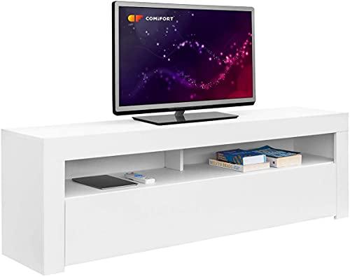 COMIFORT Mueble de TV - Mesa de Salón de Estilo Moderno con Puerta Abatible con Estantes de Gran Almacenaje, Muy Resistente, Fabricada en Europa, Color Blanco