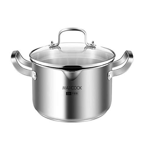 LONGWDS sartén Sopa de olla, olla de acero inoxidable 304, 22cm, parte inferior compuesta engrosada, Cocina de gas - cocina de inducción - universal, de alta calidad, la mejor opción for menaje de coc