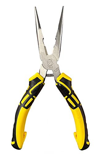 BOOSDEN 8 inch Needle Nose Pliers with Side Cutters, Precision Long Nose Pliers with Side Cutting, Professional Needle Nose Spring Loaded Pliers, Used for Cutting Clamping Pinching