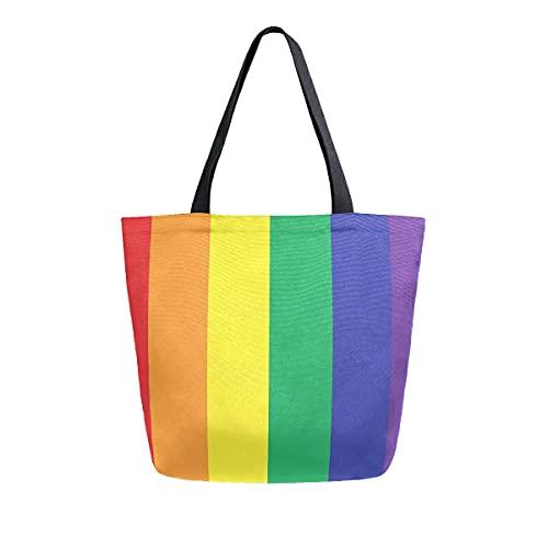 COZYhome - Bolso de lona grande LGBT con rayas de arco iris, reutilizable, bolsa de compras, bolsa de hombro para mujeres, trabajo, escuela, etc